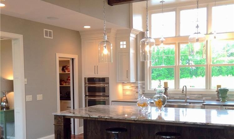 Kitchen remodel with suspended lighting