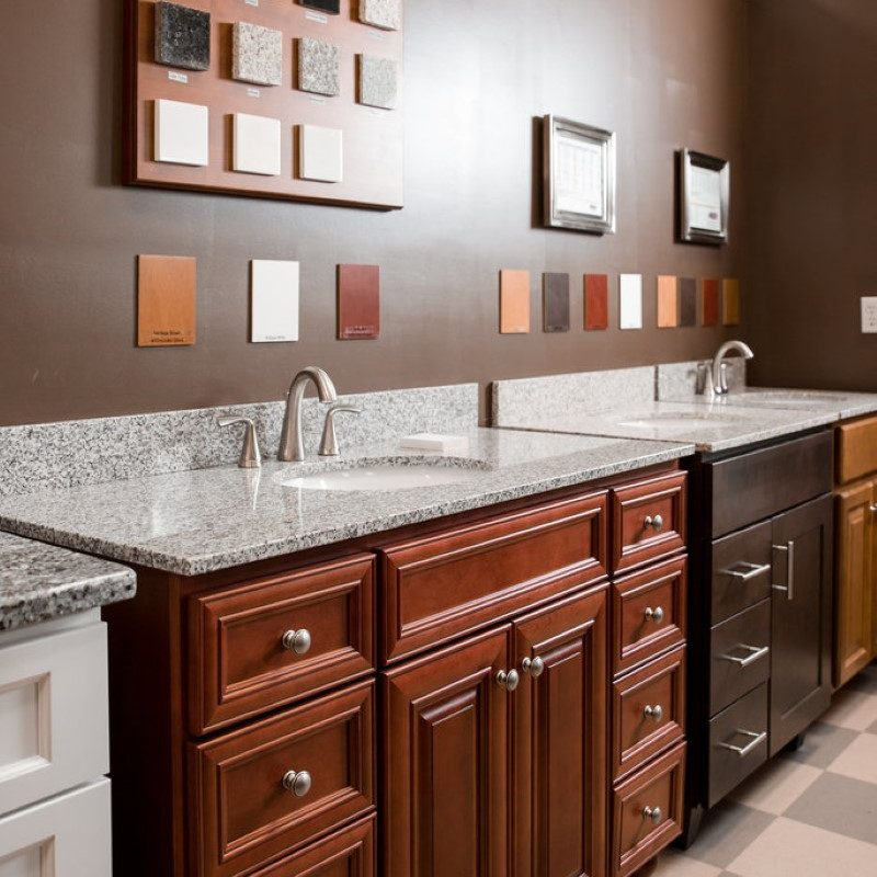 bathroom sink options in showroom