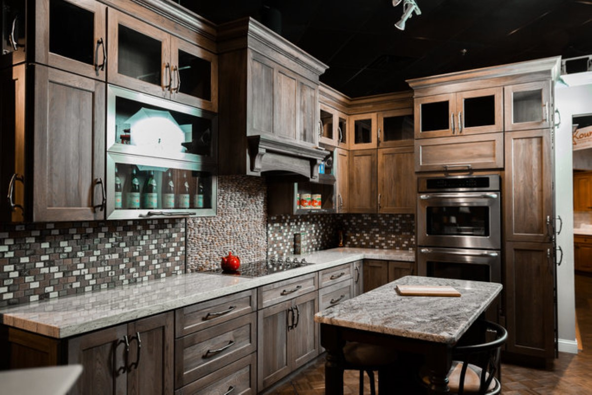 kitchen design options in showroom