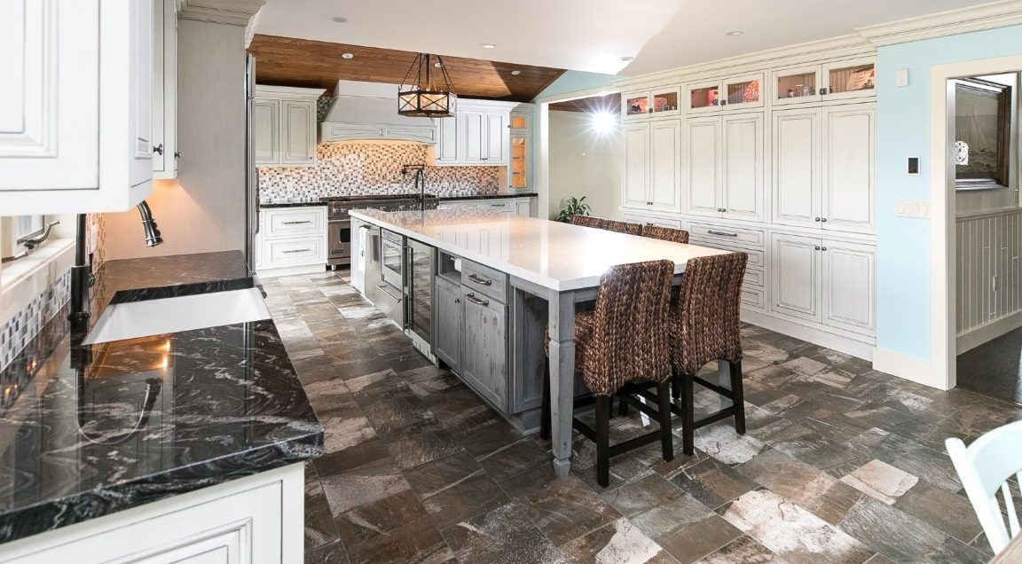kitchen remodel with white granite