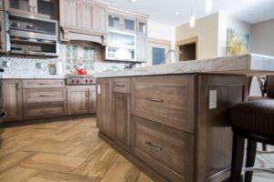 Dark wood tone island drawers