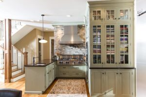 Light inset cabinets with large glass display cabinet