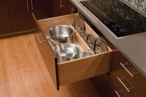 Deep cabinet pull-out drawers for pots and pans